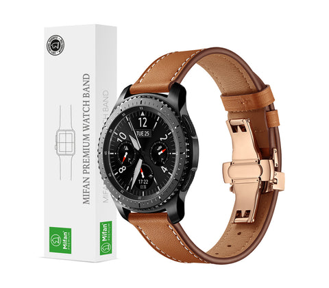 Mifan Premium Genuine Leather Band 22mm Width Brown with Rose Gold Click - MifanGo.com