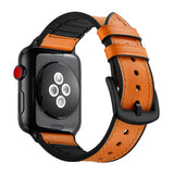 Hybrid Silicone Genuine Leather Band for Apple Watch 44mm/42mm Yellowish Brown - MifanGo.com