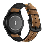 Mifan Hybrid Silicone Genuine Leather Band 22mm Light Brown for Samsung/Huawei/Garmin/Fossil - MifanGo.com
