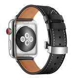 Premium Genuine Leather Band for Apple Watch 44/42mm Black w/ Silver Click - MifanGo.com