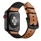 Hybrid Genuine Leather Silicone Band for Apple Watch 44/42mm Dot Design Brown - MifanGo.com