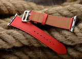 Premium Genuine Leather Band for Apple Watch 44mm/42mm Supreme Red - MifanGo.com