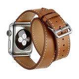 Double Tour Genuine Leather Band for Apple Watch 44/42mm Series 1/2/3/4/5 Brown - MifanGo.com