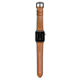 Hybrid Genuine Leather Silicone Band for Apple Watch 40/38mm Dot Design Brown - MifanGo.com