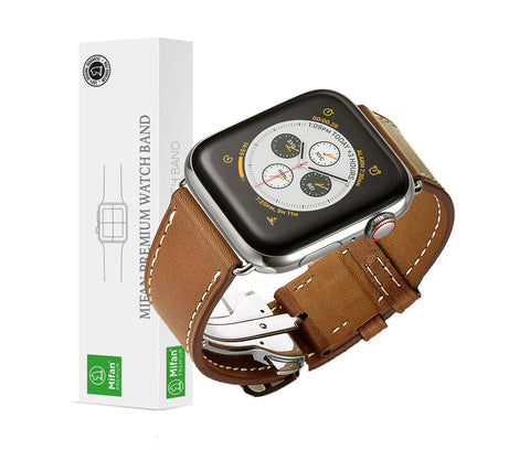 Genuine Leather Band for Apple Watch 44/42mm Brown with Silver Folding - MifanGo.com