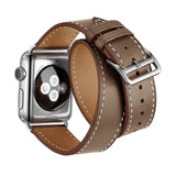 Double Tour Genuine Leather Band for Apple Watch 44/42mm Series 1/2/3/4/5 Light Brown - MifanGo.com