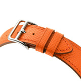 Double Tour Genuine Leather Band for Apple Watch 40/38mm Series 1/2/3/4/5 Orange - MifanGo.com