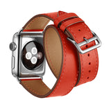 Double Tour Genuine Leather Band for Apple Watch 44/42mm Series 1/2/3/4/5 Red - MifanGo.com