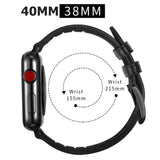 Hybrid Genuine Leather Silicone Band for Apple Watch 40/38mm Dot Design Black - MifanGo.com