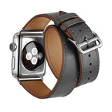 Double Tour Genuine Leather Band for Apple Watch 44/42mm Series 1/2/3/4/5 Grey - MifanGo.com