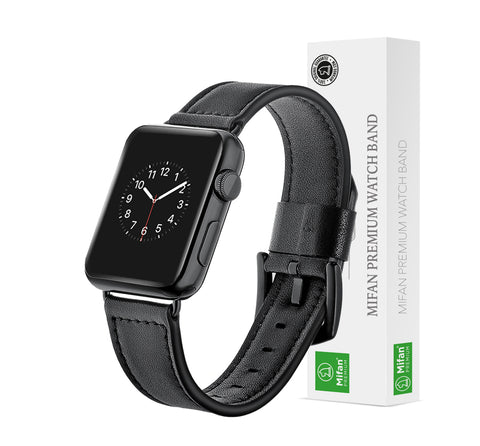 Apple Watch Genuine Leather Band 40/38mm Series 1/2/3/4/5 Cutting Black - MifanGo.com