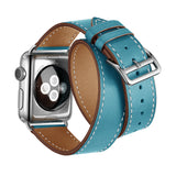 Double Tour Genuine Leather Band for Apple Watch 40/38mm Series 1/2/3/4/5 Blue - MifanGo.com