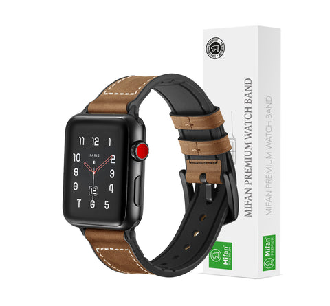 Hybrid Genuine Leather Silicone Band for Apple Watch 40/38mm Light Brown - MifanGo.com