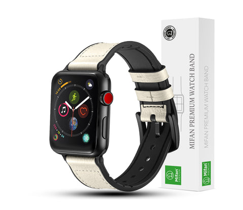 Hybrid Genuine Leather Silicone Band for Apple Watch 40/38mm White - MifanGo.com