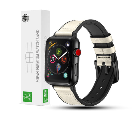 Hybrid Genuine Leather Silicone Band for Apple Watch 44/42mm White - MifanGo.com