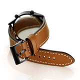 Mifan Premium Genuine Leather Band 22mm Width Brown with White Stitch Line - MifanGo.com
