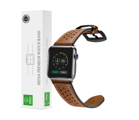 Mifan Genuine Leather Band for Apple Watch 44mm/42mm Dot Design Brown with Black Buckle - MifanGo.com