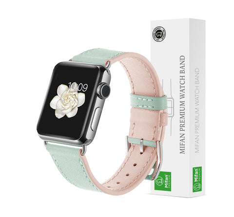 Premium Genuine Leather Band for Apple Watch 40mm/38mm Supreme Lite Green - MifanGo.com
