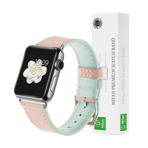 Premium Genuine Leather Band for Apple Watch 40mm/38mm Supreme Lite Pink - MifanGo.com