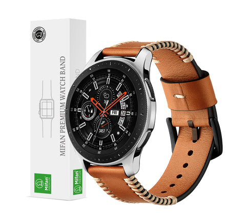 Genuine Leather Band 22mm Milan Style Brown for Samsung/Huawei/Garmin/Fossil - MifanGo.com