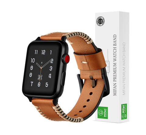 Mifan Genuine Leather Band for Apple Watch 40mm/38mm Rough Brown - MifanGo.com