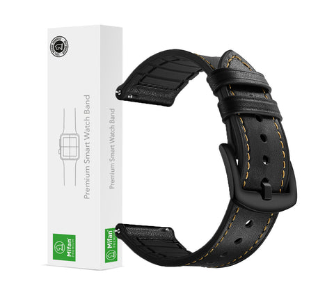 Mifan Hybrid Silicone Genuine Leather Band 22mm Black for Samsung/Huawei/Garmin/Fossil - MifanGo.com