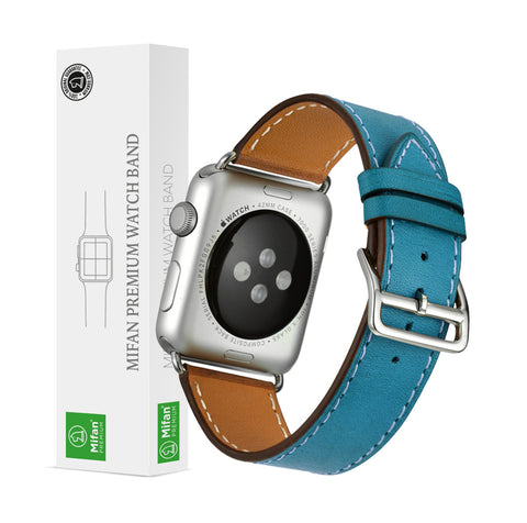 Premium Genuine Leather Band for Apple Watch 44mm/42mm Supreme Blue - MifanGo.com