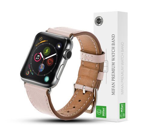 Premium Genuine Leather Band for Apple Watch 40mm/38mm Supreme Light Pink - MifanGo.com