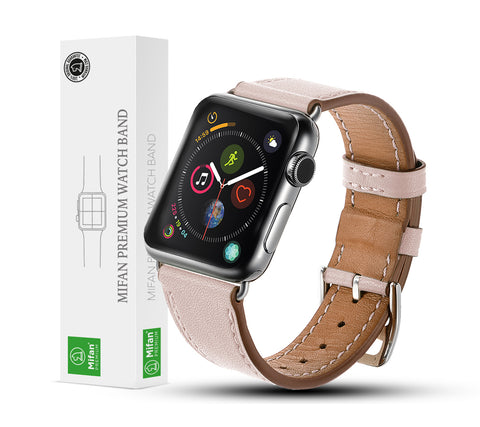 Premium Genuine Leather Band for Apple Watch 44mm/42mm Supreme Light Pink - MifanGo.com