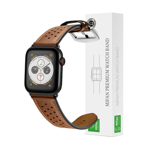 Mifan Genuine Leather Band for Apple Watch 40mm/38mm Dot Design Brown - MifanGo.com