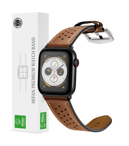 Mifan Genuine Leather Band for Apple Watch 44mm/42mm Dot Design Brown - MifanGo.com