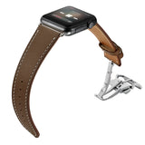 Genuine Leather Band for Apple Watch 40/38mm Light Brown with Silver Folding - MifanGo.com