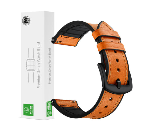 Mifan Hybrid Silicone Genuine Leather Band 22mm Yellowish Brown for Samsung/Huawei/Garmin/Fossil - MifanGo.com