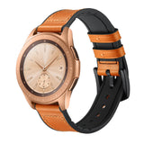 Mifan Hybrid Silicone Genuine Leather Band 20mm Yellowish Brown for Samsung/Huawei/Garmin/Fossil - MifanGo.com