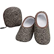 Women's  Skinnies® Snoozies!® Slippers - Leopard With Matching Travel Pouch