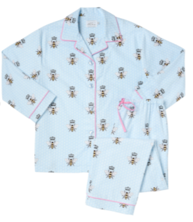 Blue Queen Bee Flannel Pajama
