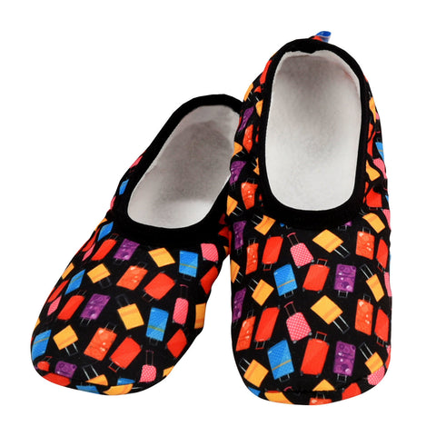Women's  Skinnies® Snoozies!® Slippers - Luggage /Black With Matching Travel Pouch