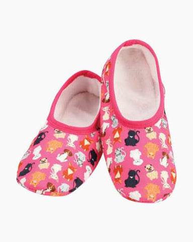 Women's  Skinnies® Snoozies!® Slippers - Cats & Dogs With Matching Travel Pouch