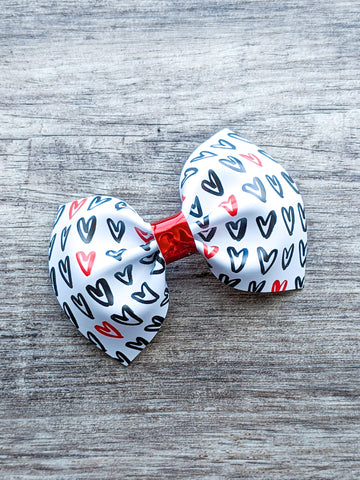 Black & Red Hearts Pinch Bow