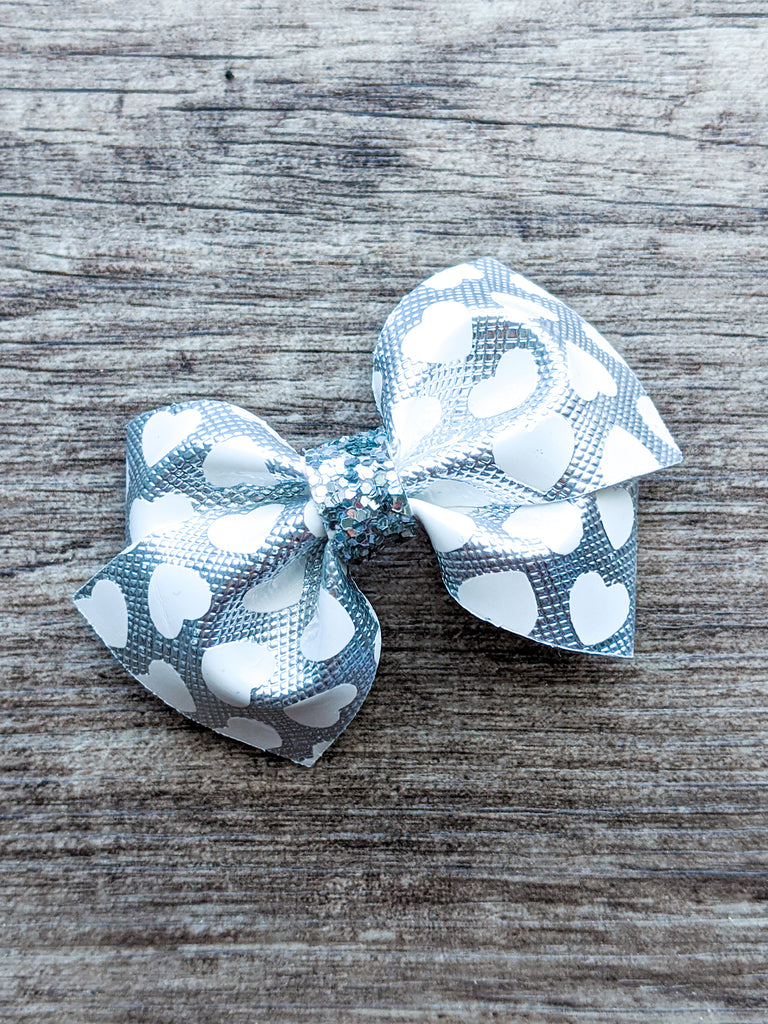 Silver Hearts Mini Loopy Bow