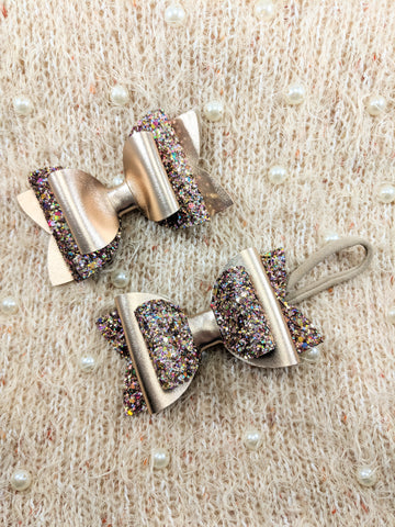 Gold & Glitter Stacked Bow
