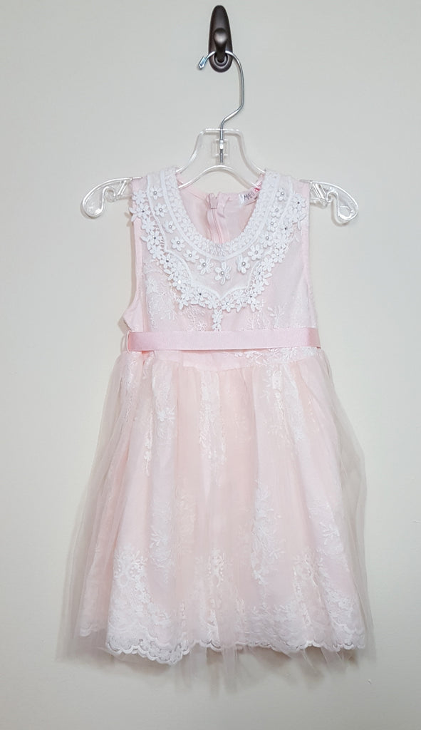 Peach Embroidered Tulle Skirt Dress Size 4