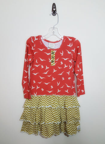 Deep Orange With Birds Henley Dress Sixe 4-5