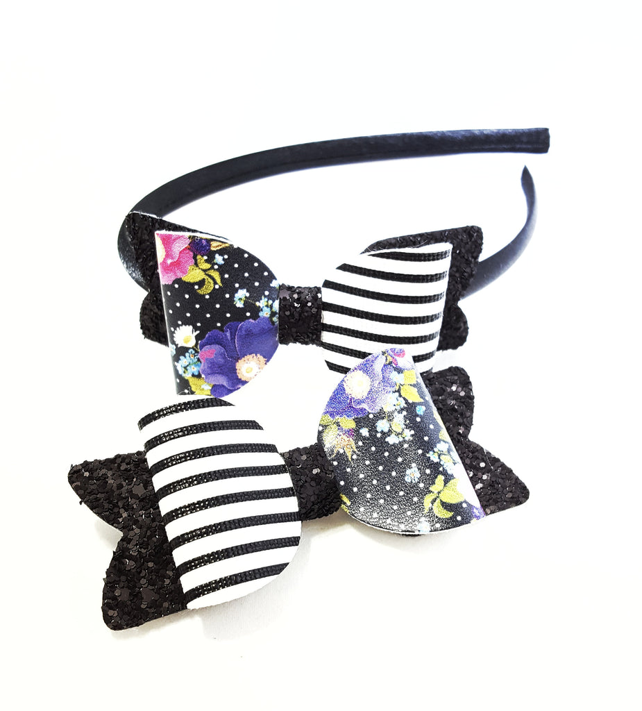 Floral Black and White Bow