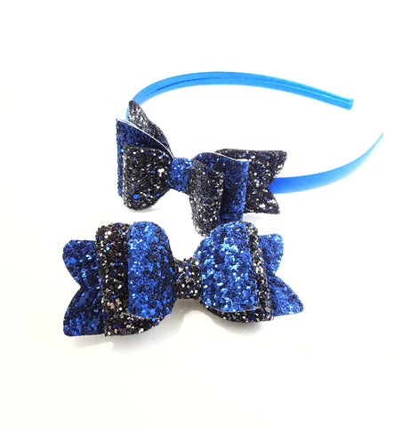 Black and Blue Glitter bow
