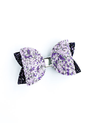 Purple and Silver Classic Bow 3.5""
