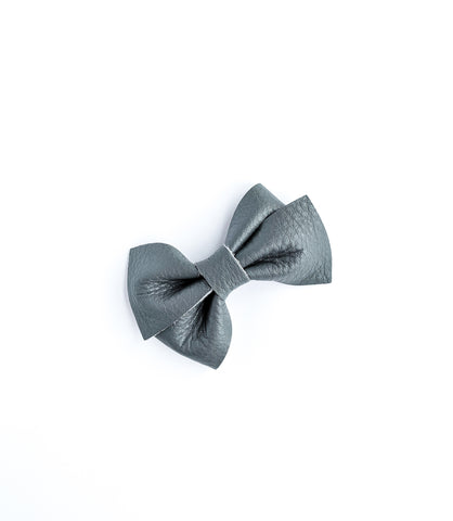 Gray Genuine Leather Loopy Bow