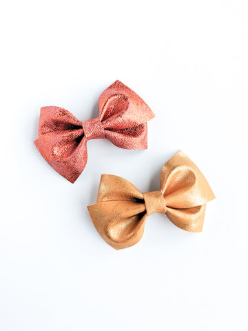 Orange and Copper Metallic Patina Loopy Bows