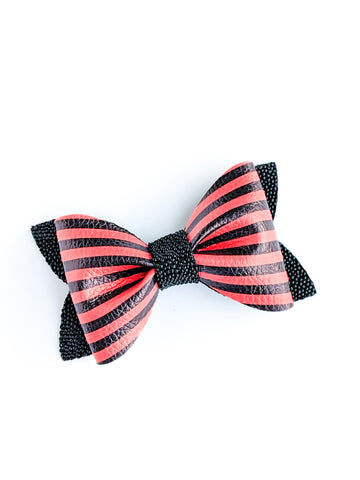 Orange and Black Striped Princess Bow 3.5""