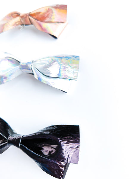 Skinny Loopy Holographic Metallic Bows